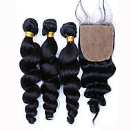 8 12 14 16 18 20 22 24 26 28 30inch Noir Naturel (#1B) Tissée Main Ondulation Lâche Cheveux humains Fermeture Brun roux Dentelle Suisse
