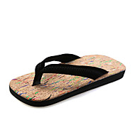 Men's Summer Flip Flops Suede Casual Flat Heel Black