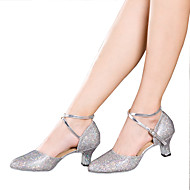 Women's Dance Shoes Latin Sparkling Glitter / Paillette / Synthetic Cuban Heel Black / Silver / Gold / Multi-color