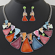 Women European Style Fashion Gorgeous Colorful Droplets Necklace Earring Set