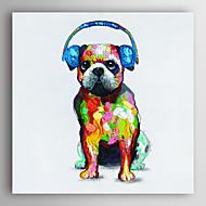 יד ציור שמן צבועת כלבי בעלי חיים עם אוזניות כחולות עם arts® קיר מסגרת 7 נמתח
