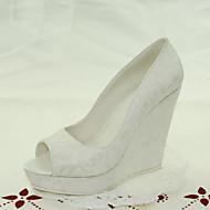 FemininoPeep Toe-Anabela-Branco-Renda-Casamento / Social