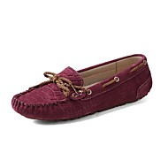 Women's Shoes Suede Flat Heel Boat / Comfort Flats/Loafers/Boat Shoes Office & Career /Casual Blue/Brown/Red