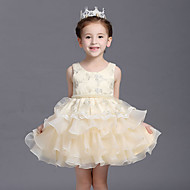 Ball Gown Knee-length Flower Girl Dress - Cotton / Organza / Satin Short Sleeve Jewel with Beading