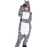 Kigurumi пижама Зебра трико/Комбинезон-пижама Halloween Нижнее и ночное белье животных белый / черный Пэчворк Фланель Кигуруми