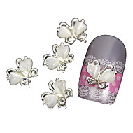 10pcs Flying Butterfly with White Cat's Eye Stone 3D Alloy Nail Art Decoration