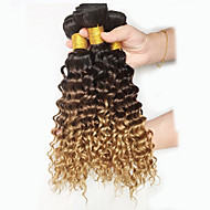 7A Peruvian Ombre Hair Extensions Deep Curls 3pcs Curly Peruvian Ombre Deep Wave Human Hair Bundles T1B/4/27