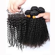Trama do cabelo com Encerramento Cabelo Brasileiro Kinky Curly 12 meses 5 Peças tece cabelo