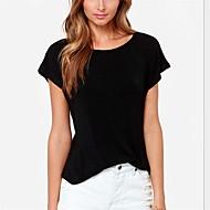 Damen Solide Einfach Lässig/Alltäglich T-shirt,Rundhalsausschnitt Sommer Kurzarm Weiß / Schwarz Mittel