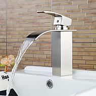 Stylish Single Handle Nickel Brushed Waterfall Bathroom Sink Faucet
