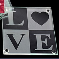 LOVE Glass Coasters Wedding Party Decoration (1pcs)