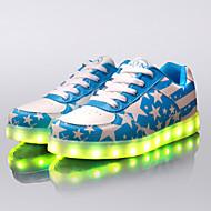 Feminino MasculinoLight Up Shoes-Rasteiro-Azul Vermelho-Courino-Ar-Livre Para Esporte Casual