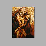 Peint à la main Abstrait / Fantaisie / Nu Peintures à l'huile,Pastoral / Style européen Un Panneau Toile Peinture à l'huile Hang-peintFor