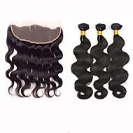 Trama do cabelo com Encerramento Cabelo Peruviano Onda de Corpo 12 meses 4 Peças tece cabelo