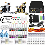 Professional Complete 2 Tattoo Machine Kit 20PCS Ink Power Supply Needle Grips Tips