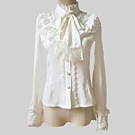 Bluse/Skjorte Klassisk og Tradisjonell Lolita Lolita Cosplay Lolita-kjoler Hvid Ensfarget Lang Ærmet Lolita Genser Til Dame Chiffon