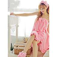 Female New Winter Flannel Wrapped Chest Bath Skirt Nightgown Sweet Three-piece Bath Towel(contains hair band shoe cover)
