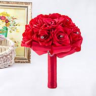 """Svatební kytice Kulatý Růže Kytice Svatba / Párty / večerní akce Satén / Pěna / Křišťál / imitace drahokamu 26 cm (cca 10,24"""")"""