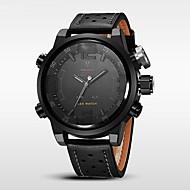 WEIDE® Men's Luxury Fashion Double Time Calendar Alarm LED LED Genuine Leather Waterproof Sport Watch