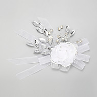 Women's / Flower Girl's Rhinestone / Crystal / Alloy / Chiffon Headpiece-Wedding / Special Occasion Flowers 1 Piece White Round