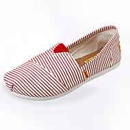 Mokasíny-Látka-Pohodlné-Dámská obuv-Modrá / Červená-Běžné-Plochá podrážka