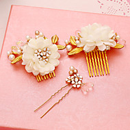 Women's Pearl / Alloy / Fabric Headpiece-Wedding / Special Occasion Hair Combs / Hair Pin 3 Pieces