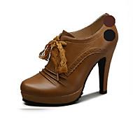 Aokang Women's Shoes Leather Stiletto Heel Heels/Comfort/Pointed Toe/Closed Toe HeelsWedding/Outdoor/Office & Career