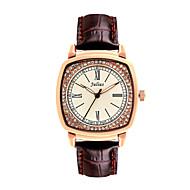 Julius®  Vintage Square Dial Women Watch Rhinestone Design Leather Belt Quartz Watch JA-718