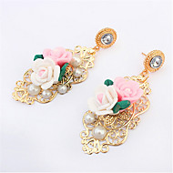 Fashion Design Charm Crystal Statement Pink White Flower Hollow Dangle Ear Studs Flossy Earrings Gem Jewelry
