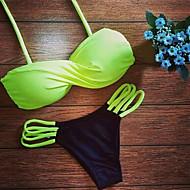 Women's Bandeau Bikini,Solid Polyester Yellow