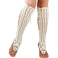 Women's Handmade Crochet Cotton Footless Sandals Yoga Chain Anklet Barefoot Sandals