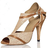 Customizable Women's Dance Shoes Latin Paillette Customized Heel Gold