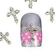 10db ezüst strasszos átkelés ujjvégek kiegészítők Nail Art dekoráció