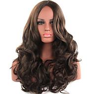 de color marrón de gran longitud de las pelucas sintéticas de calidad superior de moda de las mujeres