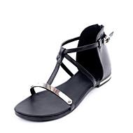 Women's Shoes Cowhide Flat Heel Mary/ Comfort / Open Toe Sandals Office & Career / Dress / Casual Black / Gold