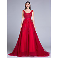 Formal Evening Dress Ball Gown V-neck Sweep / Brush Train Tulle with Lace / Pearl Detailing