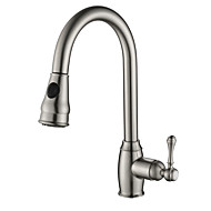 PHASAT Contemporary Pull-out/Pull-down Deck Mounted Pullout Spray with Ceramic Valve   for Nickel Brushed , Kitchen