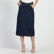 Women's Solid Split Slim All Match Elegance Skirts,Simple Midi