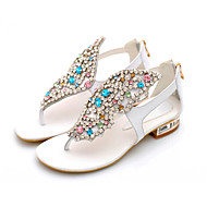 Women's  Leather Low Heel Flip Flops Sandals Wedding/Party & Evening/Casual Black/White/Gold