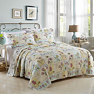 100% Cotton  Floral 3 pieces Quilted Bedspread set ,king Size