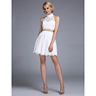 TS Couture Prom Dress - Two Pieces A-line Halter Short / Mini Lace with Beading Buttons