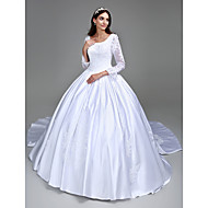 LAN TING BRIDE Ball Gown Wedding Dress - Classic & Timeless Elegant & Luxurious Vintage Inspired Cathedral Train Square Satin with