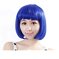 Mulher Perucas sintéticas Sem Touca Liso Azul Corte Bob Peruca de Halloween Peruca de carnaval Perucas para Fantasia