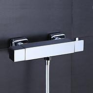 Contemporary / Modern Tub And Shower Thermostatic  Single Handle Two Holes for  Chrome , Shower Faucet / Bathtub Faucet