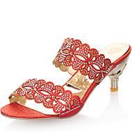 Sandály-Koženka-Podpatky / Otevřená špička-Dámská obuv-Červená / Stříbrná / Zlatá-Šaty / Běžné-Vysoký