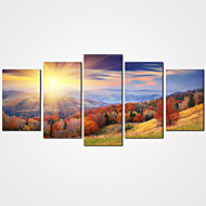 5 Panels Autumn Mountain Canvas Print Art Modern Landscape Painting for Home Decor Unframed