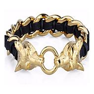 kalen®mens 316 ouro de aço inoxidável banhado lobo pulseiras de couro cabeça encanto
