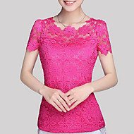 Women's Casual/Daily / Plus Size Fall Blouse,Solid Round Neck Short Sleeve Blue / Pink / White / Beige / Black Polyester Translucent