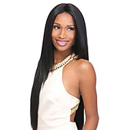 22inch Capless Women Long Yaki Straight Natural Black Synthetic Wigs Middle Bang with Free Hair Net and Comb