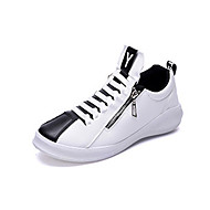 Men's Shoes PU Athletic Sneakers Athletic Sneaker Flat Heel Zipper / Lace-up Black / Blue / White